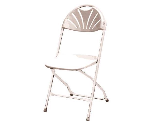White/white Fan-back Folding Chair