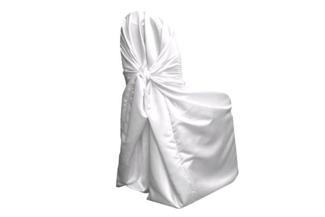 White Shalimar Satin Chair Wrap