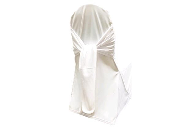 White Scuba W/ Ties Chair Cover